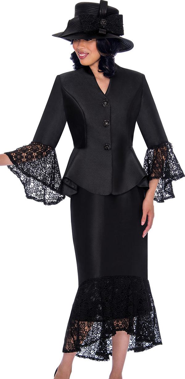 GMI G7552-Black - Womens Suit With Lace Flounce Skirt Hem & Jacket Sleeve Cuffs