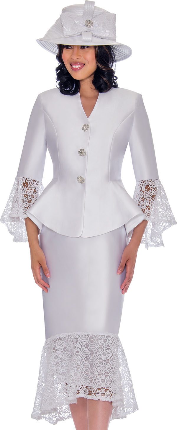 GMI G7552-White - Womens Suit With Lace Flounce Skirt Hem & Jacket Sleeve Cuffs
