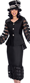GMI G7632-Black - Flounce Skirt Suit With Peplum Bishop Sleeve Jacket In Organza Inset Design