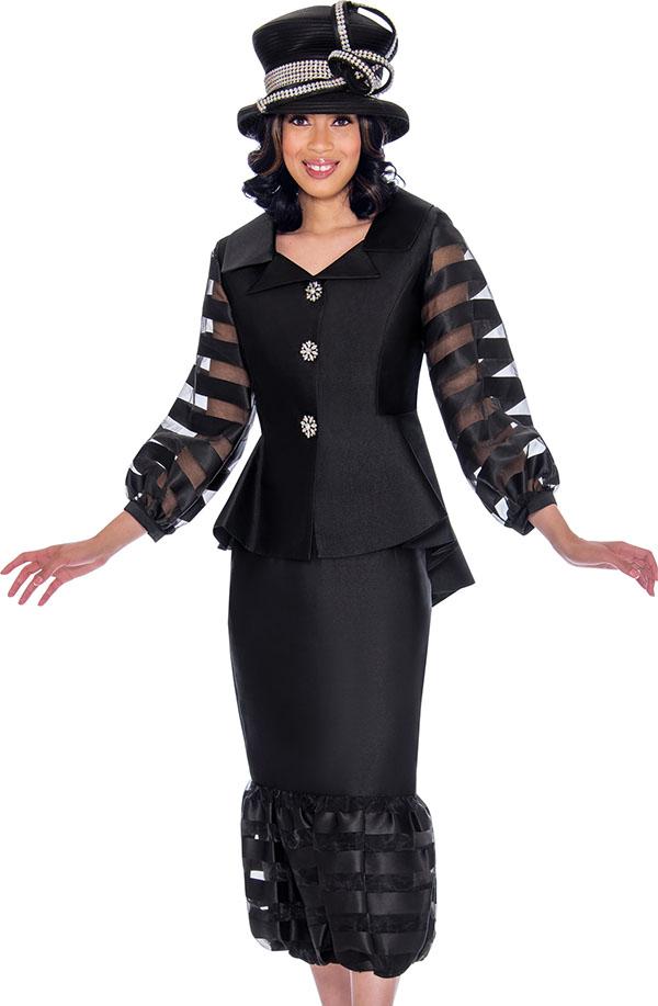 GMI G7632-Black - Flounce Skirt Suit With Peplum Bishop Sleeve Jacket In Organza Inset Design