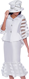 GMI G7632-White - Flounce Skirt Suit With Peplum Bishop Sleeve Jacket In Organza Inset Design