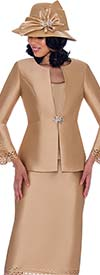 GMI G7763 - Womens Bell Cuff Sleeve Jacket & Skirt Suit With Lace Trims