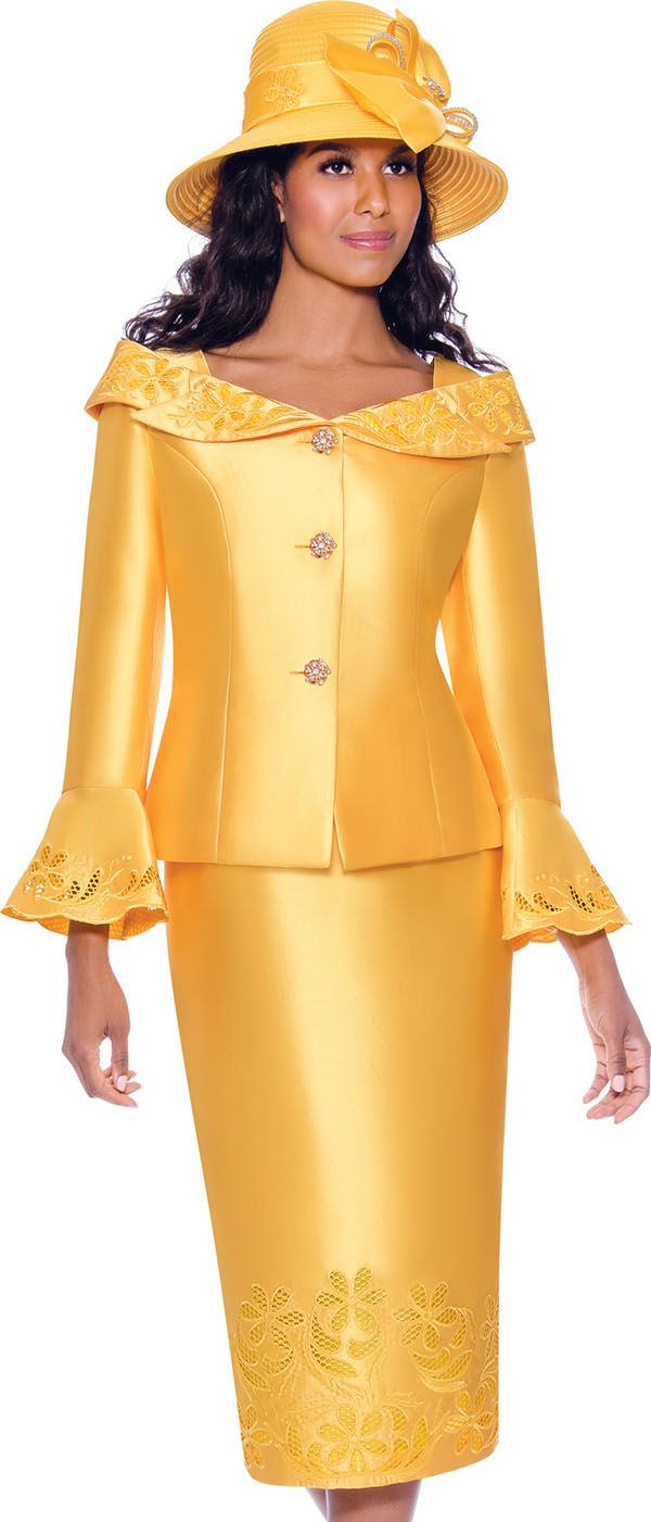 GMI G7862-Gold - Womens Church Suit With Cut-Out Details And Notched Portrait Collar Bell Cuff Jacket