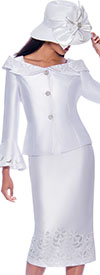 GMI G7862-White - Womens Church Suit With Cut-Out Details And Notched Portrait Collar Bell Cuff Jacket