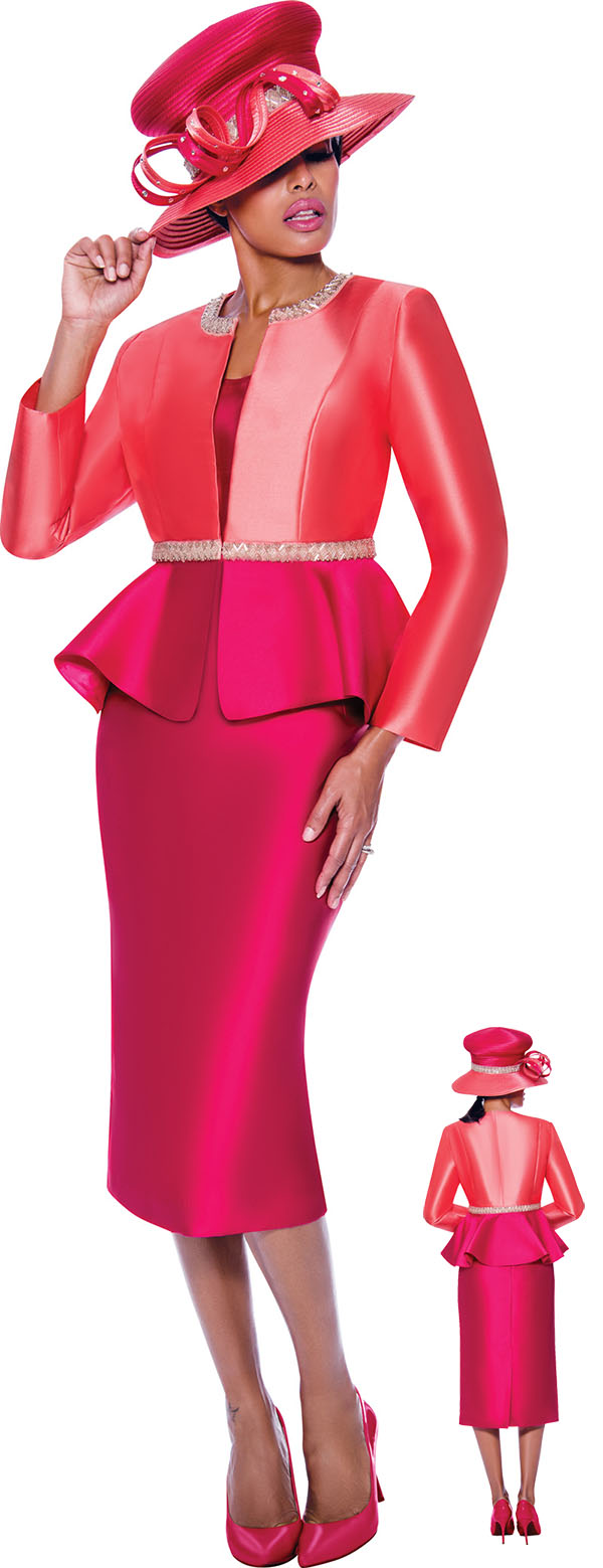 GMI G7893-Coral-Magenta - Womens Church Suit With Embellished Peplum Jacket