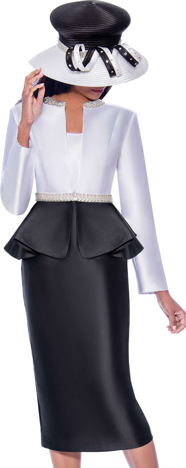 GMI G7893-White-Black - Womens Church Suit With Embellished Peplum Jacket
