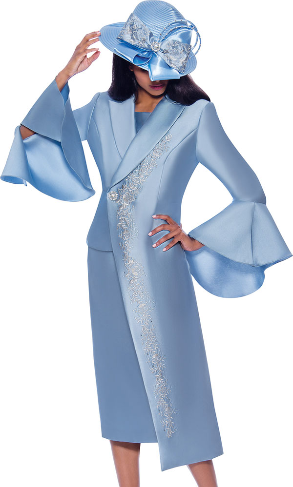 GMI G7912-Blue - Half Duster Style Flounce Cuff Jacket & Skirt Suit With Embroidered Details
