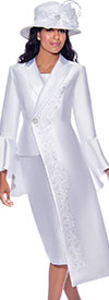 GMI G7912-White - Half Duster Style Flounce Cuff Jacket & Skirt Suit With Embroidered Details