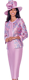 GMI G7923-Pink - Womens Skirt Suit With Floral Brocade Print Design Jacket