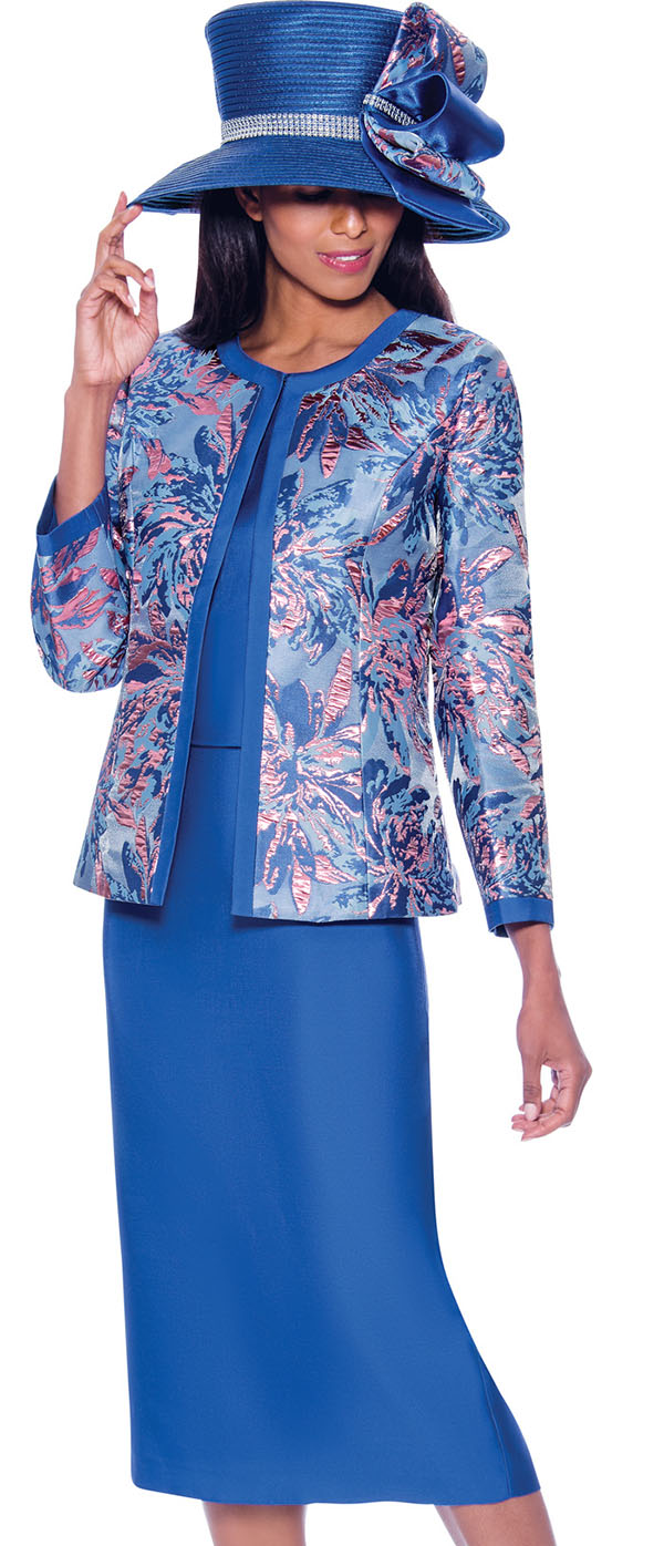 GMI G7923-Royal - Womens Skirt Suit With Floral Brocade Print Design Jacket