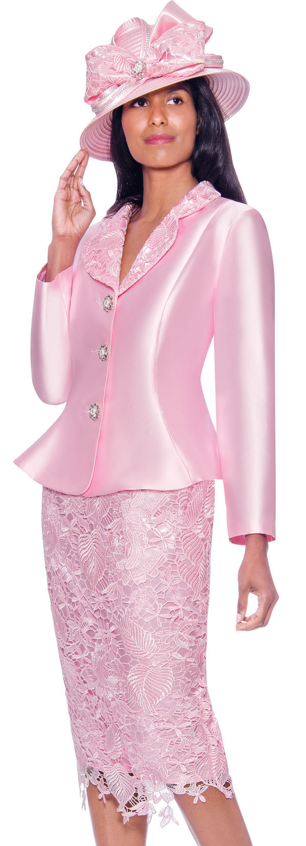 GMI G7932-Pink - Lace Detailed Skirt Suit With Rounded Lapel Peplum Jacket