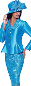 GMI G7932-Turquoise - Lace Detailed Skirt Suit With Rounded Lapel Peplum Jacket