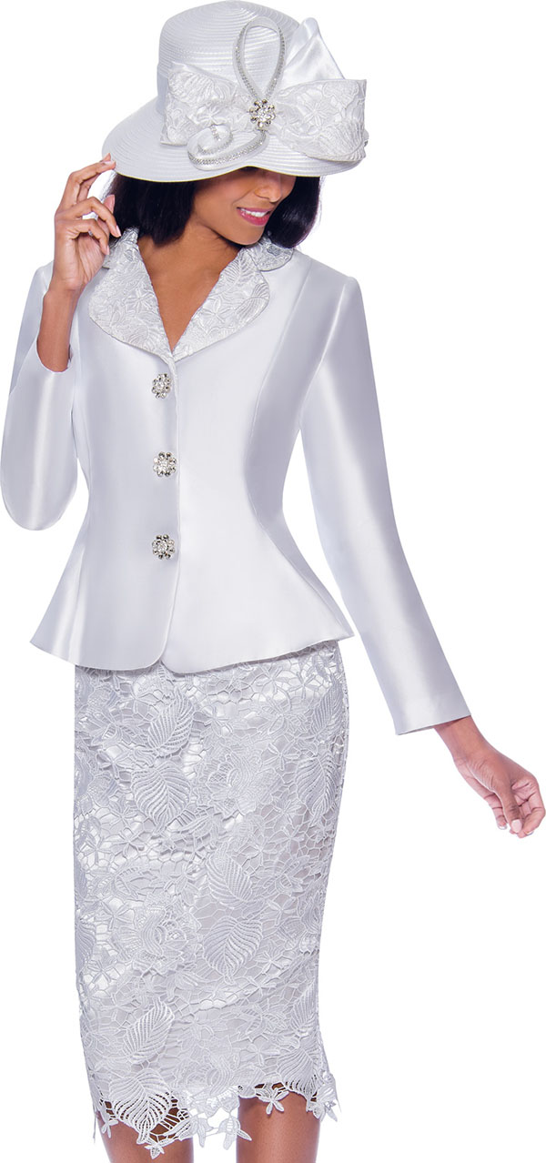 GMI G7932-White - Lace Detailed Skirt Suit With Rounded Lapel Peplum Jacket