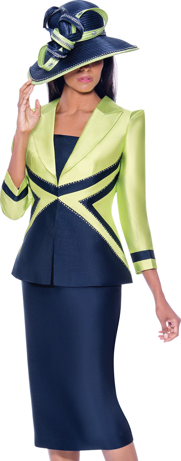 GMI G7943-Lime-Navy - Skirt Suit With Dual Tone Peak Lapel Jacket