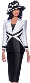 GMI G7943-White-Black - Skirt Suit With Dual Tone Peak Lapel Jacket
