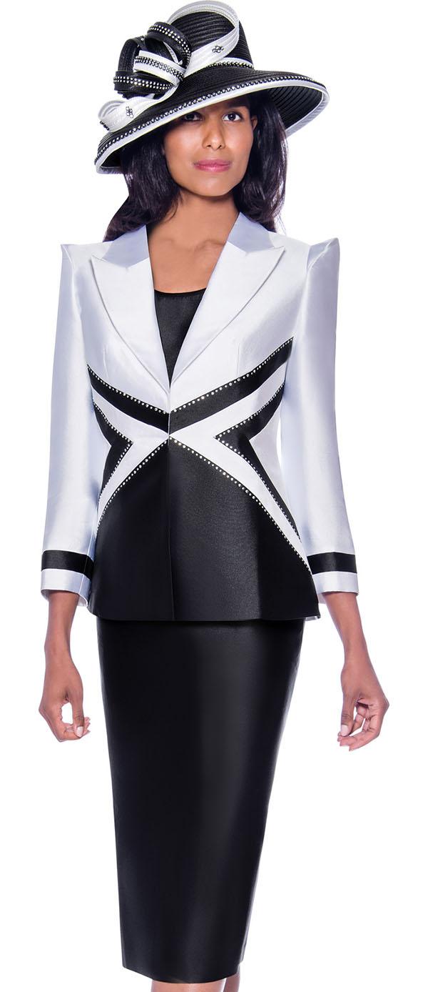 GMI G7943-White-Black - Skirt Suit With Dual Tone Peak Lapel Jacket