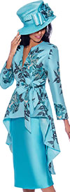 GMI G7962-Blue - Skirt Suit With Floral Print Extended Peplum Jacket With Sash