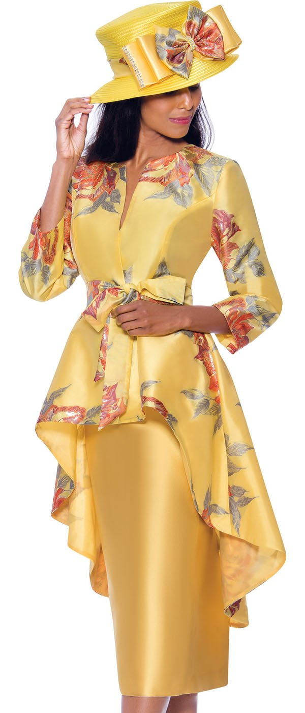 GMI G7962-Yellow - Skirt Suit With Floral Print Extended Peplum Jacket With Sash