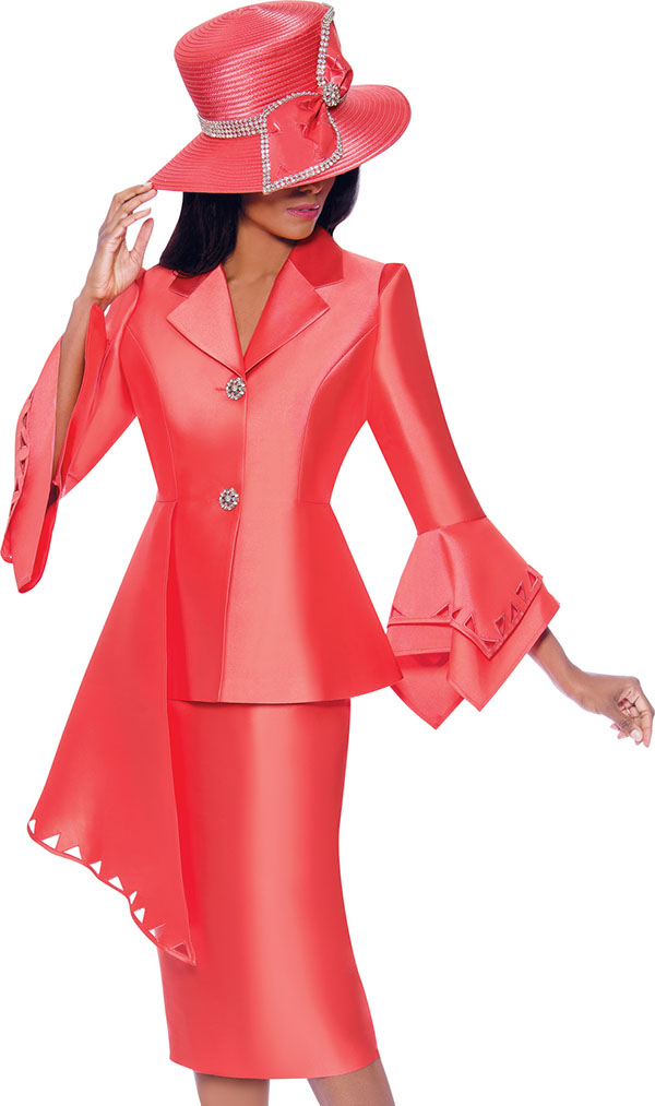 GMI G7972-Coral - Half Peplum Style Point Cuff Jacket & Skirt Suit With Cut-Out Details