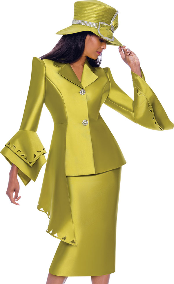GMI G7972-Green - Half Peplum Style Point Cuff Jacket & Skirt Suit With Cut-Out Details