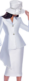 GMI G7972-White - Half Peplum Style Point Cuff Jacket & Skirt Suit With Cut-Out Details