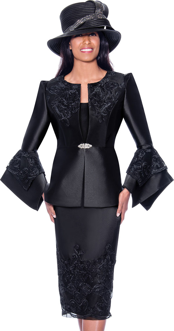 GMI G7983-Black - Embroidery Design Womens Church Suit With Split Flounce Cuff Sleeve Jacket