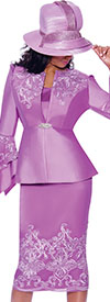 GMI G7983-Lavender - Embroidery Design Womens Church Suit With Split Flounce Cuff Sleeve Jacket
