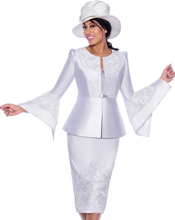 GMI G7983-White - Embroidery Design Womens Church Suit With Split Flounce Cuff Sleeve Jacket