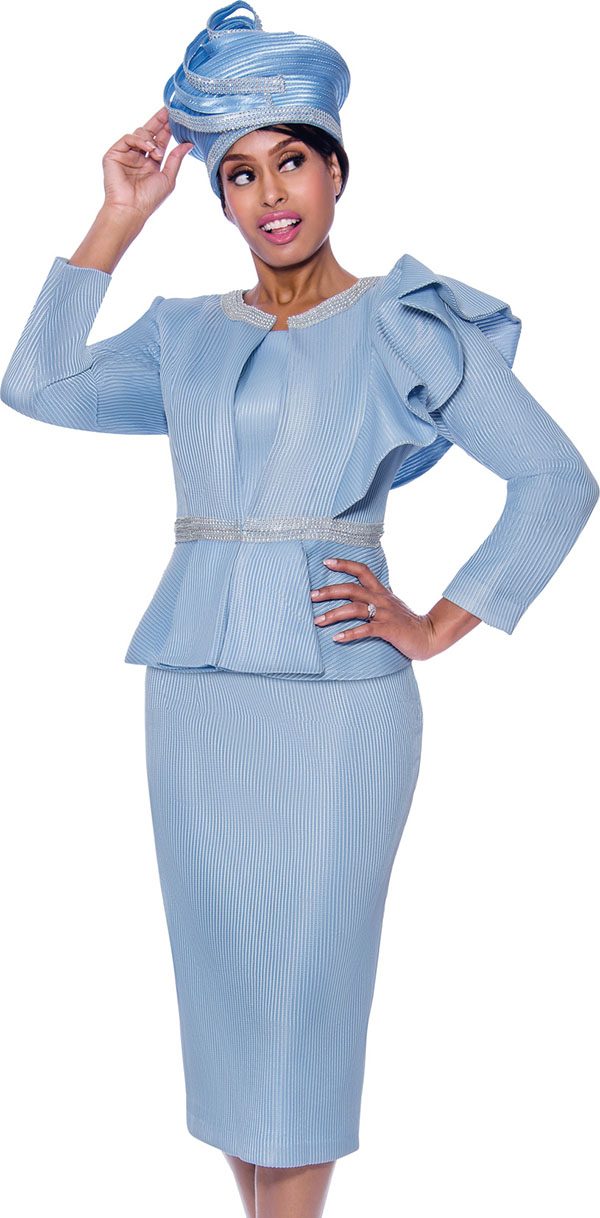GMI G7992-Blue - Skirt Suit With Rhinestone Trimmed Peplum Jacket Featuring Shoulder Ruffle