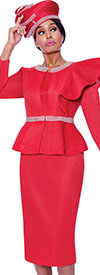 GMI G7992-Red - Skirt Suit With Rhinestone Trimmed Peplum Jacket Featuring Shoulder Ruffle