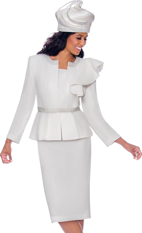 GMI G7992-White - Skirt Suit With Rhinestone Trimmed Peplum Jacket Featuring Shoulder Ruffle