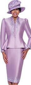 GMI G8052-Lavender - Embroidery Detailed Skirt Suit With Swan Neckline Peplum Jacket
