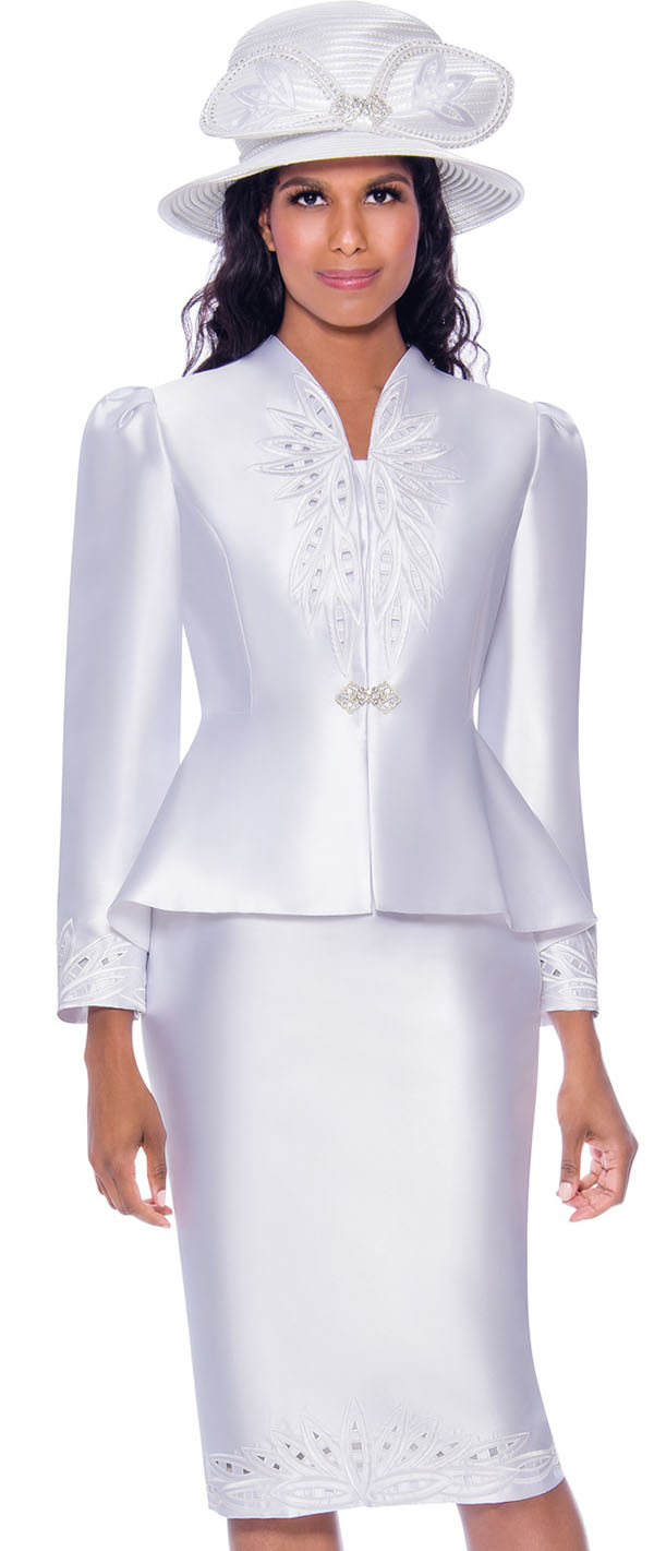 GMI G8052-White - Embroidery Detailed Skirt Suit With Swan Neckline Peplum Jacket