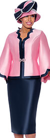 GMI G8062-Pink-Navy- Scallop Trim Design Womens Church Suit With Bell Sleeve Jacket