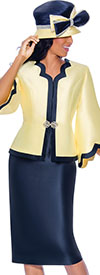 GMI G8062-Yellow-Navy- Scallop Trim Design Womens Church Suit With Bell Sleeve Jacket