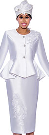 GMI G8072-White - Floral Embroidery Design Womens Church Suit With Peplum Jacket