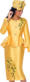 GMI G8072-Yellow - Floral Embroidery Design Womens Church Suit With Peplum Jacket