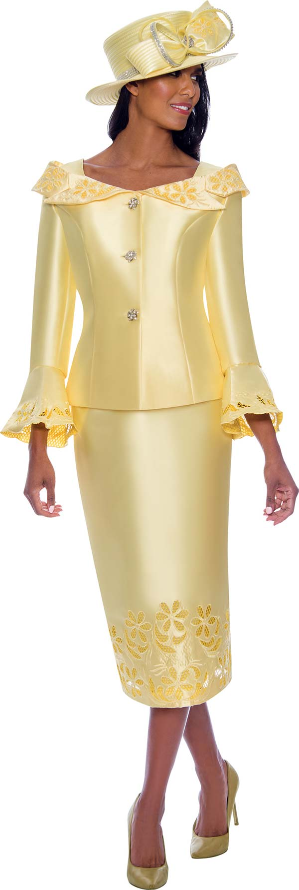 GMI G7862-Yellow - Womens Church Suit With Cut-Out Details And Notched Portrait Collar Bell Cuff Jacket
