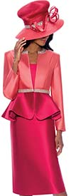 GMI G7893-Coral-Fuchsia - Womens Church Suit With Embellished Peplum Jacket
