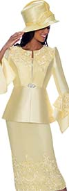 GMI G7983-Yellow - Embroidery Design Womens Church Suit With Split Flounce Cuff Sleeve Jacket