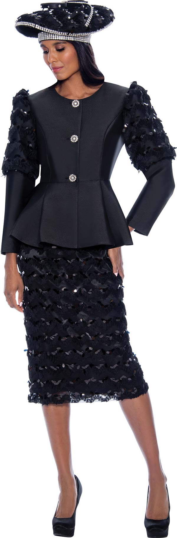 GMI G8172-Black - Peplum Jacket And Skirt Suit Featuring Cut-Out Ruffle Design