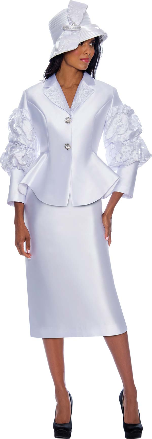 GMI G8382 - Church Suit With Skirt And Ruffle Puff Sleeve Notch Lapel Peplum Jacket