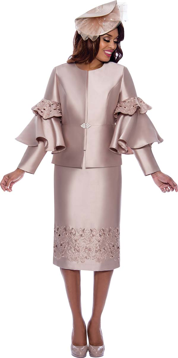 GMI G8472 - Church Suit With Cut-Out Detailed Skirt And Tiered Flounce Sleeve Jacket