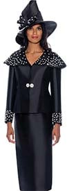 GMI G8582-Black/White - Skirt Suit Featuring Over The Shoulder Collar Jacket Embellished With Pearl Beads