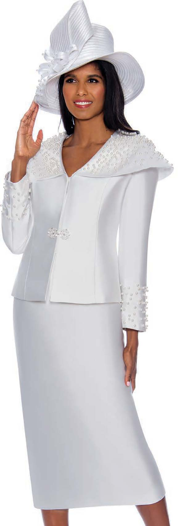 GMI G8582-White - Skirt Suit Featuring Over The Shoulder Collar Jacket Embellished With Pearl Beads