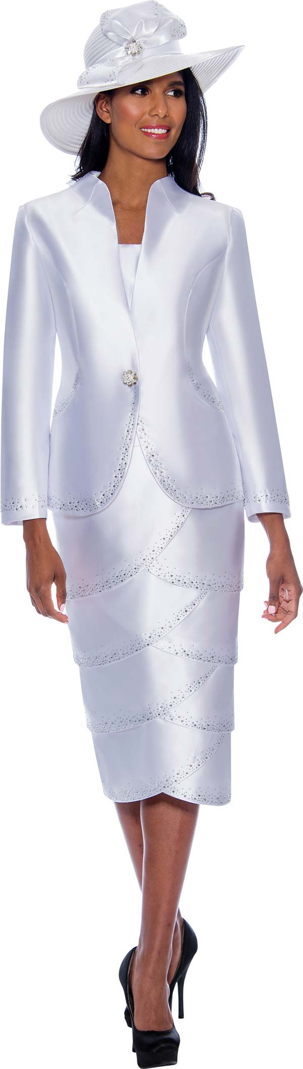 GMI G8592 - Embellished Womens Tiered Tulip Skirt Suit With Swan Neckline Jacket