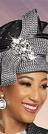 Ben Marc 48264H - Womens Embellished Church Hat with Rhinestones