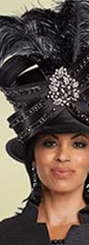 Donna Vinci 11788H Womens Feather And Rhinestone Embellished Hat