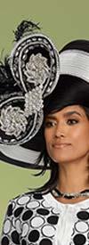 Donna Vinci 11798H Womens Wide Brim Hat With Rhinestones & Feathers
