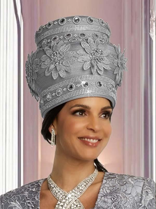 Donna Vinci 11851HS Womens Church Hat In Floral Applique And Rhinestone Design